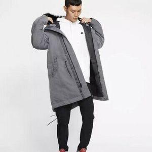 New Nike Sportswear Down Fill Hood Parka Dark Grey Coat BV4751-021